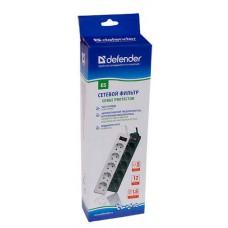 Сетевой фильтр Defender ES 5.0 m Black 5 розеток, черный 99486