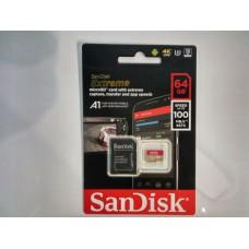 Карта памяти microSDXC UHS-I U3 SANDISK Extreme 64 ГБ, 90 МБ/с, Class 10, SDSQXVF-064G-GN6MA, 1 шт.,