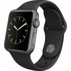 Умные часы Apple Watch sport 38mm, алюминий «серый космос» - Чёрный спортивный ремешок (MJ2X2)